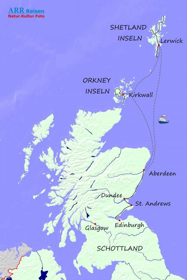 Route ARR Orkney-Shetland Reise