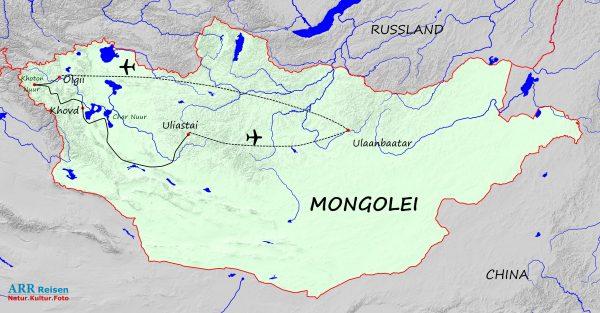 Karte_ARR-Route: In den Westen der Mongolei