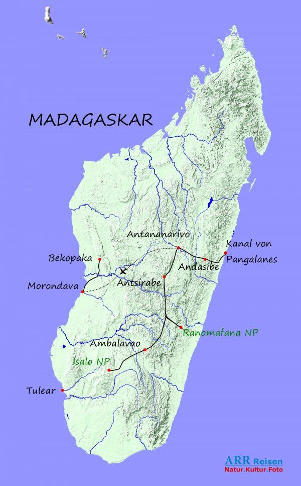 Route - ARR Madagaskar Fotoreise 1