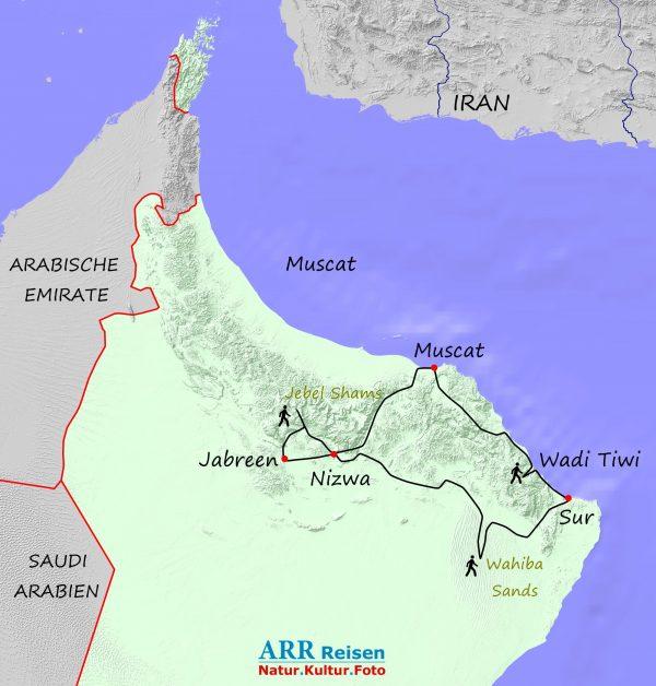 Karte_ARR-Route: Nördlicher Oman mit kleinen Wanderungen
