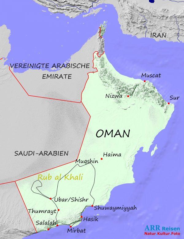Karte_ARR-Route: Fotoreise Südlicher Oman