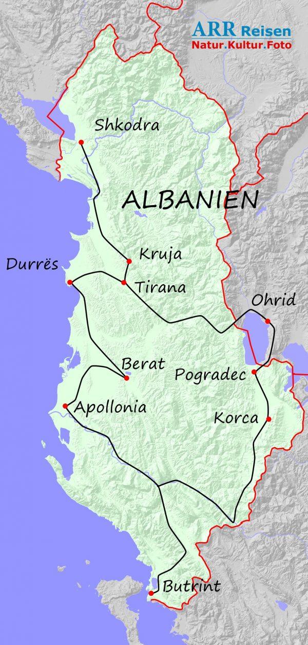 Route ARR Albanien, Erlebnisreise