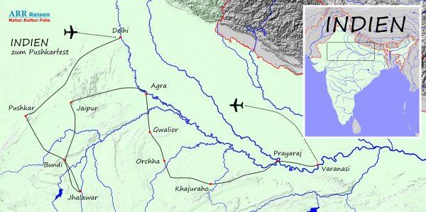 Karte_ARR-Route: Indien, Pushkar Fotoreise
