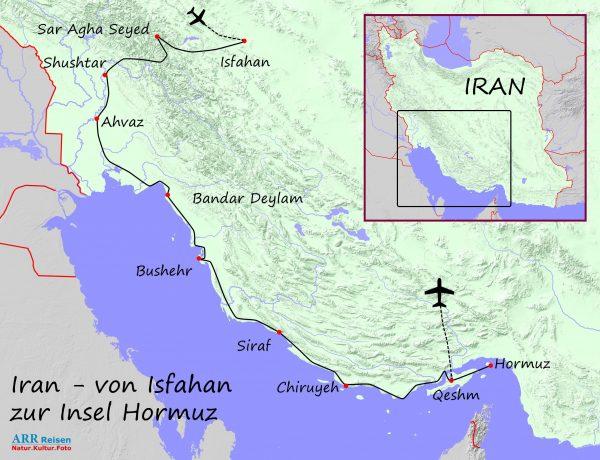 Karte_ARR-Route: Iran, Isfahan - Zagros -Hormuz
